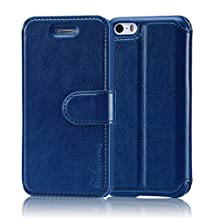 Belemay iPhone SE Case, iPhone 5S Case, iPhone 5 Case, Genuine Leather Case Wallet Cover with Magnetic Closure, Credit Card Slots, Stand Function, Money Pouch for iPhone SE / 5S / 5 - Midnight Blue