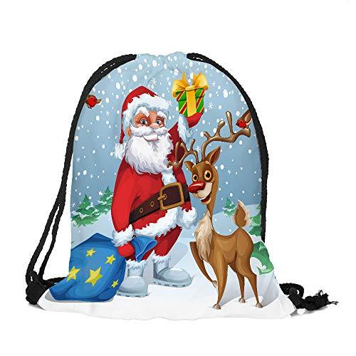 ✈ HYIRI Merry Christmas Candy Bag Satchel classicBundle Pocket Drawstring Storage Bag