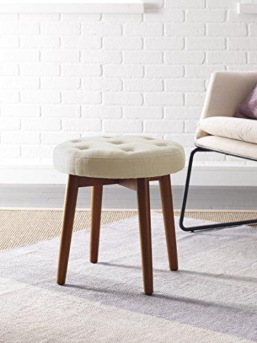 Elle Decor Penelope Round Tufted Stool - Ivory (Footstool Living Room)