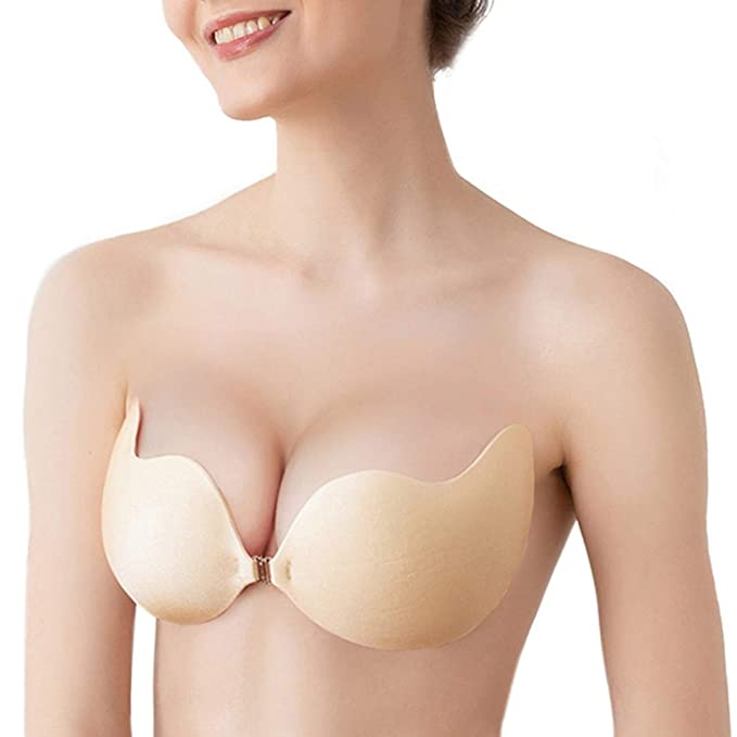 san francisco sleek lace up in Women Adhesive Strapless Backless Bra Invisible Sticky Bra Mango Beige