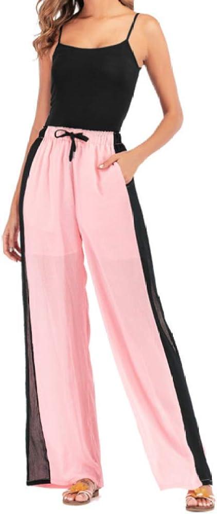 Pantalones Casuales de Cintura elástica para Mujer Pantalones de Verano de Cintura Alta con cordón a Juego Pantalones de Pierna Ancha Sueltos Deportivos