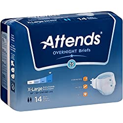 Attends Highly Absorbent Overnight Briefs for Adult Incontinence Care, X-Large, Unisex , 14 Count (Pack of 2)