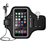 iPhone 6/6S/7/8 Plus Armband, JEMACHE Fingerprint Touch Supported Gym Run Workout Arm Band Case for iPhone 6/6S/7/8 Plus with Key/Card Holder (Black)