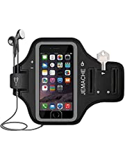 iPhone 6 7 8 SE(2020) Armband, JEMACHE Fingerprint Touch Supported Gym Run Workout Arm Band Case for iPhone 6/6S/7/8/SE 2020 with Key Holder (Black)