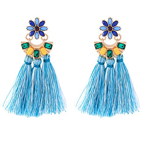 Tassel Chandelier Drop Earrings (sapphire)