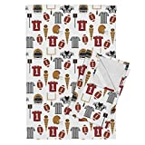 Roostery Football Football Fabric American Football College Football Sports Boys Tea Towels Sports Football Fabric Kids by Charlottewinter Set of 2 Linen Cotton Tea Towels