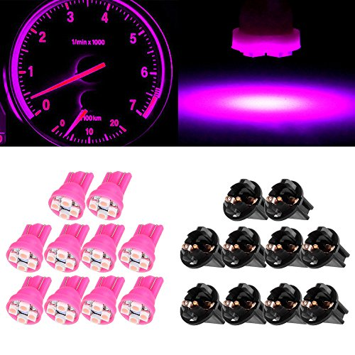 CCIYU 10Pack Pink 4-3528-SMD T10 168 194 LED Light Bulbs With Twist Lock Sockets Instrument Gauge Panel LED Light