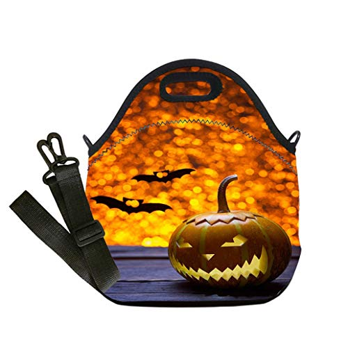 3D Print Neoprene Reusable Cooler Fashion Lunch Bag Pumpkins for Halloween and the silhouette of a bat Lunch Bag- Insulated and Reusable Artful Design