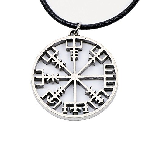 Vegvisir Compass Amulet Necklace Norse Viking Odin's Symbol Runic Pendant Viking Runes Gift Men Women (4073)