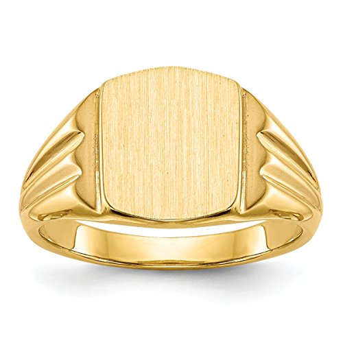 Solid Closed Back Womens Mens Double Grooved Sides Top Signet Ring Custom Personailzed with Free Engraving Available of Initials or Monogram ~ Size 7 in Solid 14K Yellow Gold by Roy Rose Jewelry ()