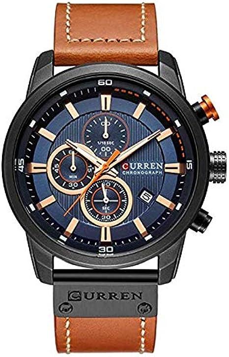 Relógio de homem Curren 8291 Multifuncional Marrom