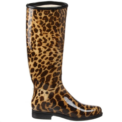Black Leopard English Rain Boot Women's Leopard High Knee dav RqHgW