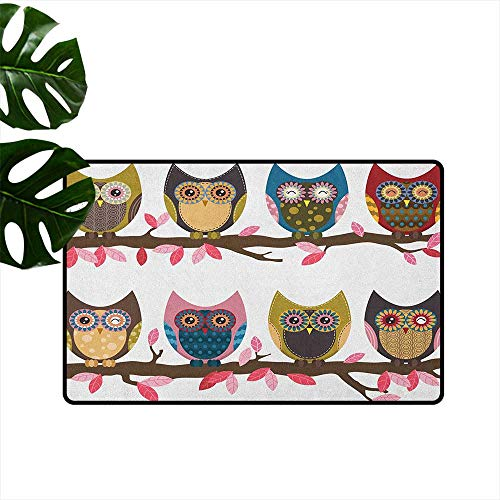 Anzhutwelve Owls,Personalized Door mats Group of Owls Cute Facial Expressions Winking Smiling Vintage Scrapbooking Retro Art 18