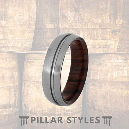 - Mens Wedding Band Silver Titanium Ring with Ironwood Inner Sleeve and Offset Groove Wood Ring