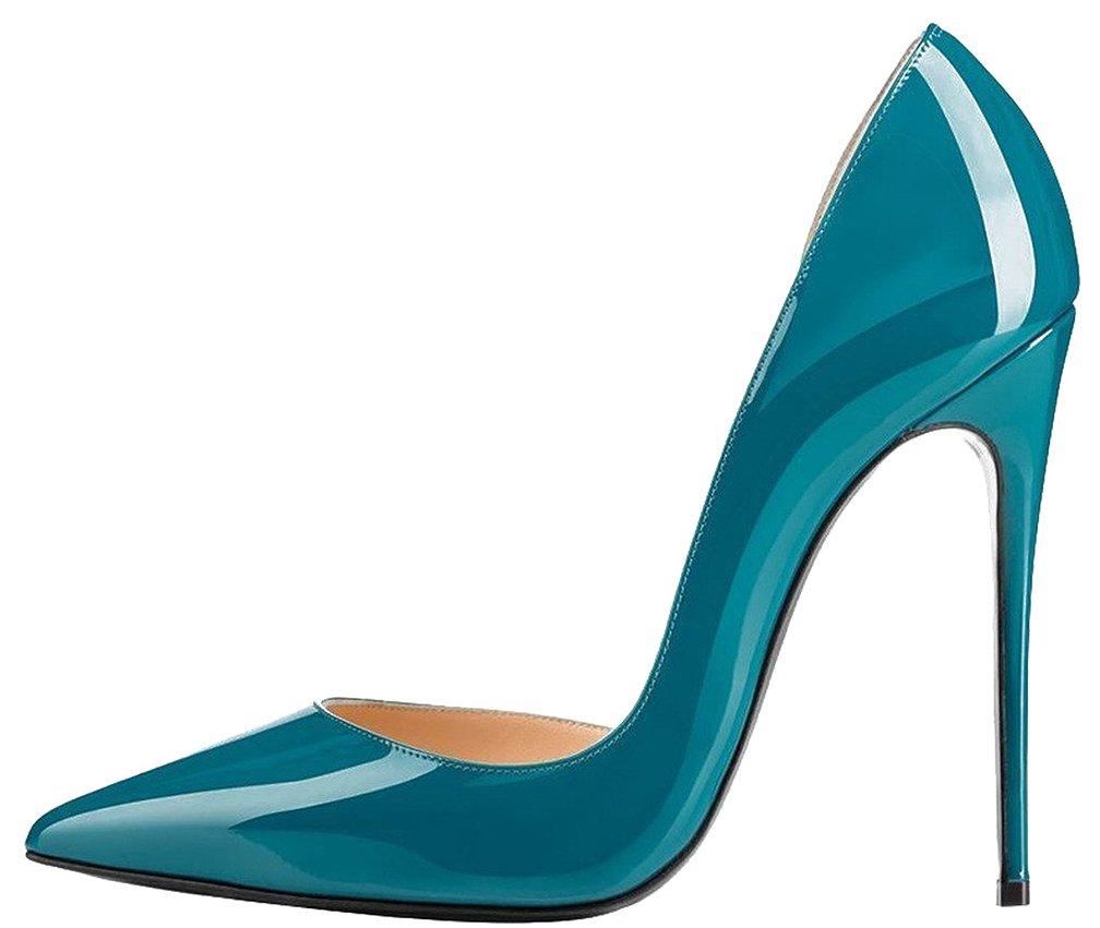 Calaier Mujer Catea Tacón De Aguja 12CM Sintético Ponerse Zapatos de Tacón 45 EU|Verde