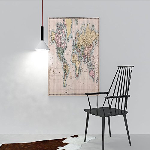 ainting Living Room Decoration Frameless Original Old Hand Colored Map of The World Anthique Chart for Old Emperors for Living Room Office Decor Gift W20 x H40 ()