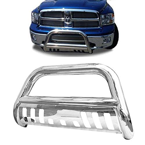 Span Bull Bar Skid Plate Front Push Bumper Grille Guard Stainless Steel Chrome for 2006-2008 Dodge Ram 1500 Pickup