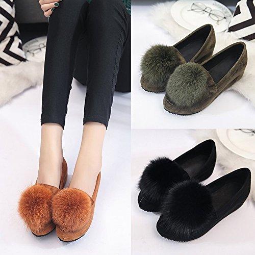 Peluca Peluda Zapatos de Boca Baja con el Trabajo de Zapatos de Mujer Zapatos de Guisantes Aumentan en Zapatos de Mujer , jaspe , EUR34