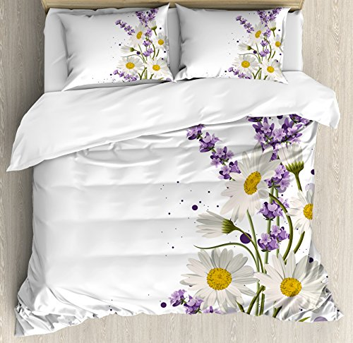 Ambesonne Lavender Duvet Cover Set King Size, Vivid Bouquet with Daisies Color Slashes Scenic Modern Artistic, Decorative 3 Piece Bedding Set with 2 Pillow Shams, Lilac Reseda Green Marigold