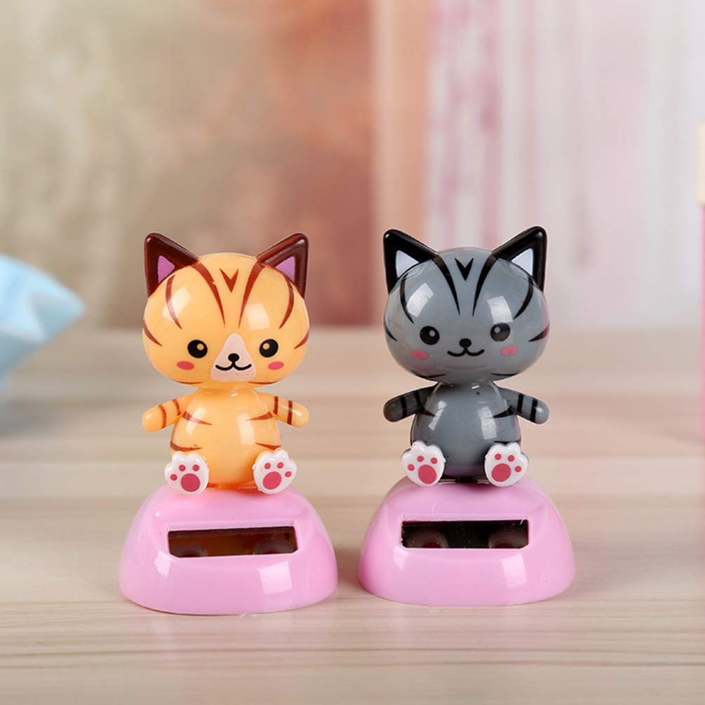 Holibanna Cat Ornament Solar Powered Dashboard Toys Car Desk Bobblehead Gift for Home Party Bedroom 2pcs