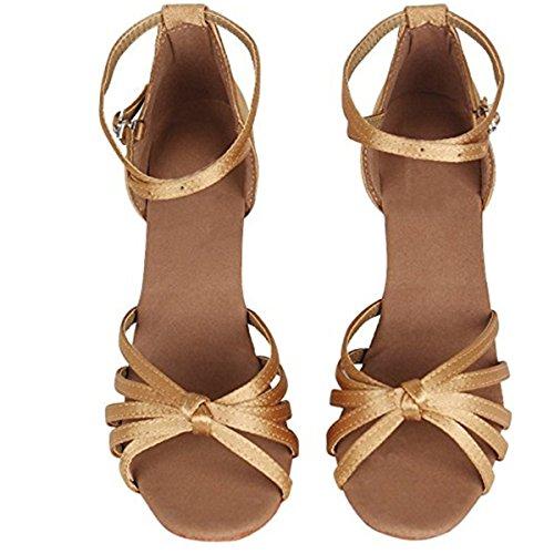 Latino Medio Tango De Adulta Zapatos Tacon Baile Salsa Salón Marrón Danza Yogly Mujer tacón A 5cm PFtT1w