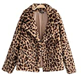 YOSUNL Women's Lapel Leopard Coat Thick Faux Fur Blazer Furry Long Sleeve Loose Parka Outerwear S