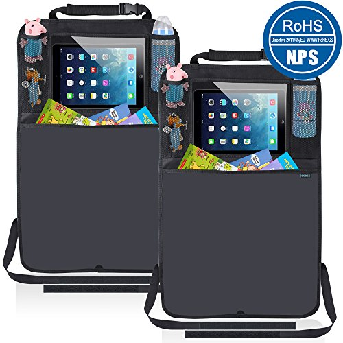 Kick Mats Car Seat Back Protector Organizer with 10.1″ Tablet Holder Car Travel Accessories for Kids Baby (2 Pack)
