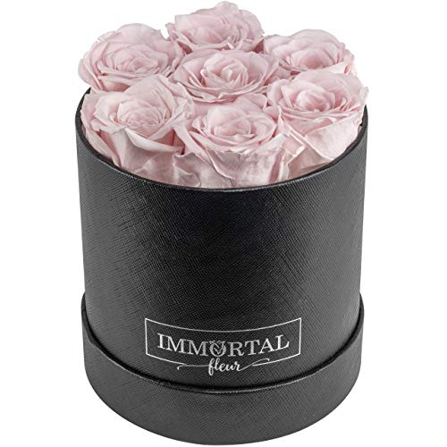 Immortal Fleur Preserved Roses | Fresh Real Flowers Arranged In Elegant Round Box | Last Over a Year | Handmade Gifts For Her: Valentine's Day, Mother's Day, Anniversary & Birthday | Pink: 7 Roses