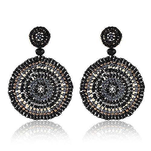 CEALXHENY Beaded Drop Earrings for Women Handmade Colorful Bead Earrings Bohemia Hoop Dangle Earring for Girls (D Black)