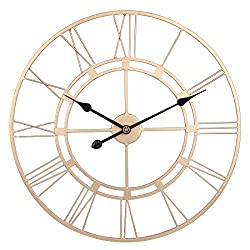 RuiyiF 24 Inch Wall Clock Silent Battery Operated Metal Rustic Vintage, Big Wall Clock Farmhouse Decorative Living Room Kitchen Bedroom 3D Easy to Read (Gold)
