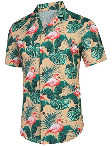 (Men's Standard-Fit Casual Button Down Tropical Print Hawaiian Shirt Yellow L)
