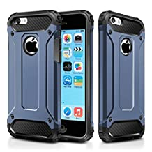 iPhone 5C Case,Wollony Rugged Hybrid Dual Layer Hard Shell Armor Protective Back Case Shockproof Cover for Apple iPhone 5C 4inch - Slim Fit - Heavy Duty - Impact Resistant Bumper (Deep Blue)