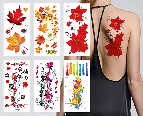 Supperb Flower & Autumn Leaves Temporary Tattoos / Gorgeous Color Set of 6