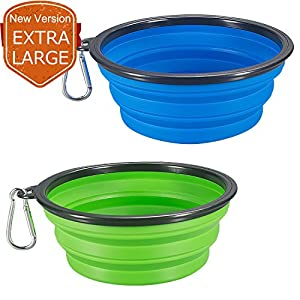 COMSUN 2-Pack Extra Large Size Collapsible Dog Bowl, Food Grade Silicone BPA Free, Foldable Expandable Cup Dish for Pet Cat Food Water Feeding Portable Travel Bowl Blue and Green Free Carabiner 90