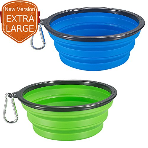 (COMSUN 2-Pack Extra Large Size Collapsible Dog Bowl, Food Grade Silicone BPA Free, Foldable Expandable Cup Dish for Pet Cat Food Water Feeding Portable Travel Bowl Blue and Green Free Carabiner)