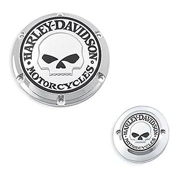 Tapa Acceso embrague + Anticipo automático Willie G Skull X Harley Davidson SPORTSTER XL y XR Pespuntes: Amazon.es: Coche y moto