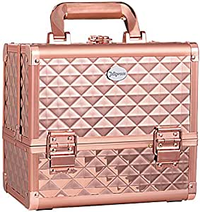 Joligrace Makeup Train Case Cosmetic Box 10 Inches Jewelry Organizer Professional 3 Tiers Trays with Mirror and Brush Holder Lockable Key Portable Travel - Rose Gold