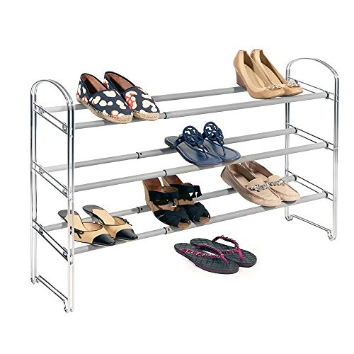 Seville Classics 3-Tier Expandable Shoe Rack, Chrome