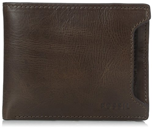 (Fossil Men's Sliding 2 in 1 Wallet, Derrick- Dark Brown, One)