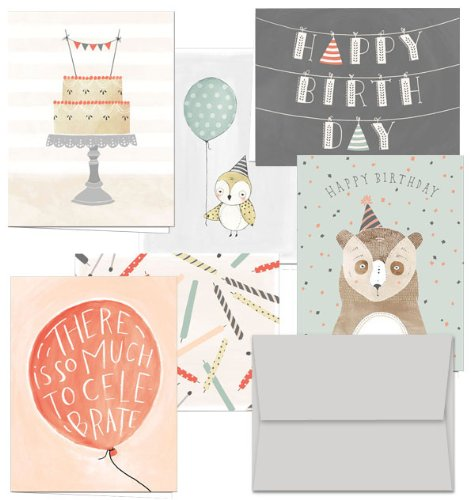 Fanciful Birthday Wishes - 144 Birthday Cards - 6 Designs - Blank Cards - Gray Envelopes Included