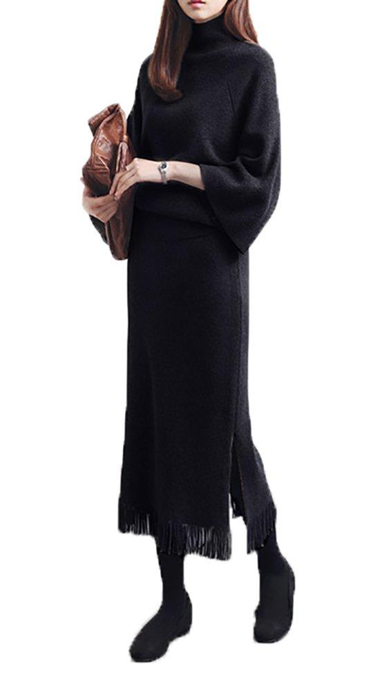 Notting hill 春 大人 レディース ニット ツーピース アンサンブル ドレス セーター スカート スリット フリンジ カジュアル シンプル きれいめ スタイル ストレート ブラウン ブラック サイズ S 2XL SSK-0076 (M, ブラウン) B01COUVBHE M|ブラック ブラック M