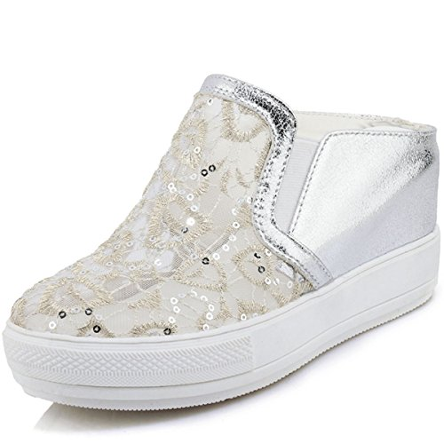 Casual Wedges Sneakers Shoes Silver Platform Comfortable 's Women Fashion Hollow on Breathable Spring Slip Summer DoraTasia 6 q6Bvxw