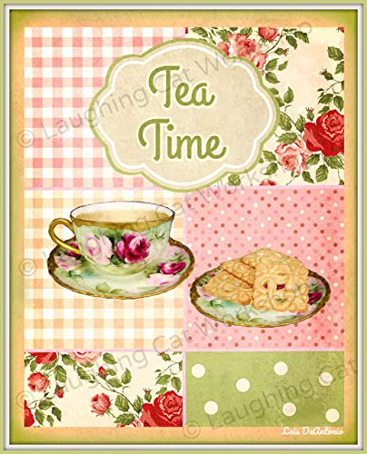 Tea Art Print English Tea Time Breakfast print British art Cafe decor French Country Cottage kitchen decor snack cookie art Food foodies art print Shabby Chic Teacup art