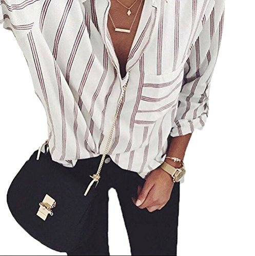 USGreatgorgeous Women's Vertical Stripes Button Down Loose Plus Size Long Sleeves Shirt (2XL, red Striped)