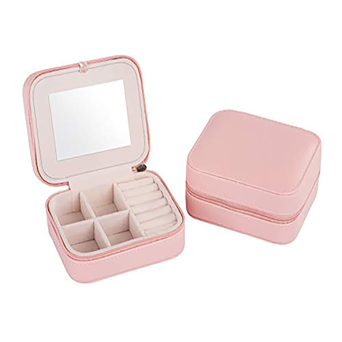 Pequeño joyero de viaje portátil con espejo para anillos, pendientes, collar, pulseras Muhwa eCommerce Co. Ltd J002