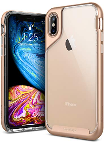 Caseology Skyfall for iPhone Xs Case (2018) - Clear Back & Slim Fit - Gold
