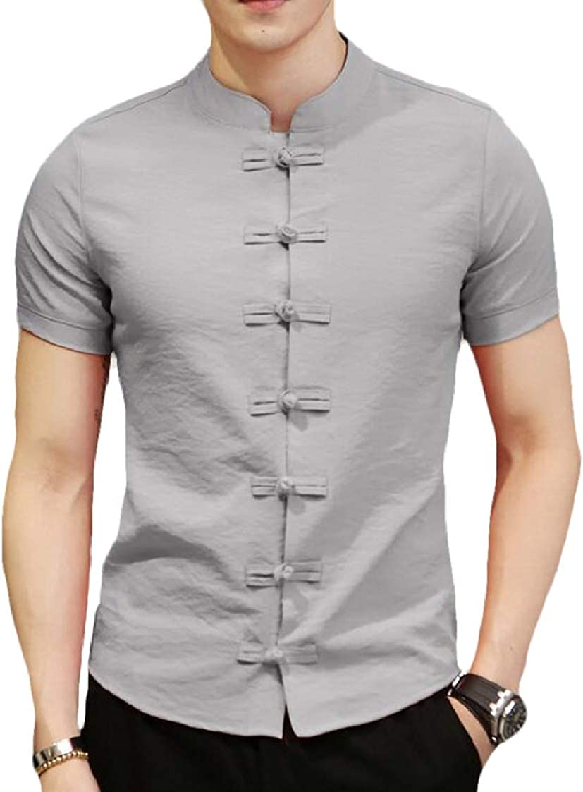Nanquan Men Long Sleeve Button Down Solid Linen Stand Collar Classic Fit Shirts
