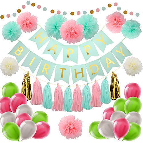 Zooawa Happy Birthday Banner, [42PCS] Birthday Party Decoration Set, Tissue Paper Flowers Garland Balloons 18th 20th 30th 40th 50th 60th 70th for Party Supplies - Pink & Green