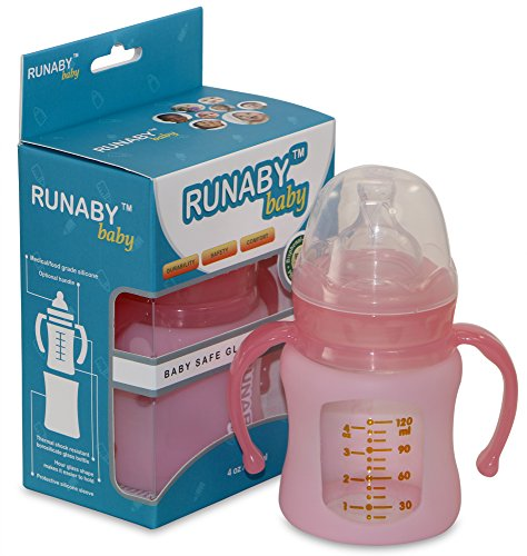 Glass Baby Bottle with Silicone Sleeve (4 oz., Pink) Wide Neck and Stage 1 Nipple