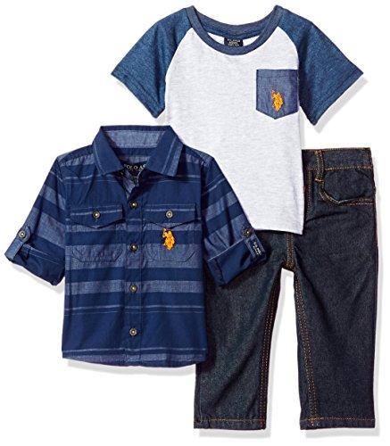 U.S. Polo Assn. Baby Boys Sport Shirt, Creeper Pant Set